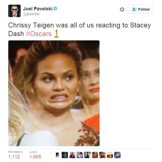 Chrissy Teigen was all of us reacting to Stacy Dash #Oscars
