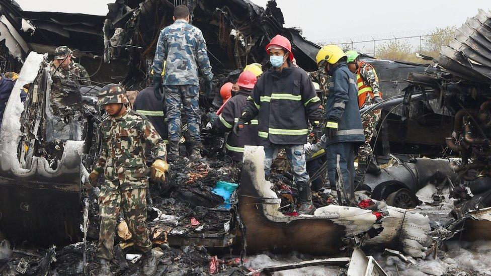 Restos del avión accidentado
