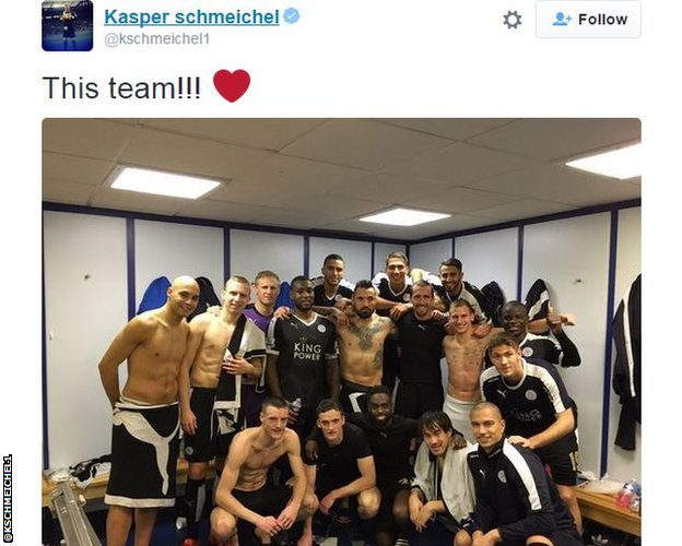 The Leicester dressing room after victory at Everton