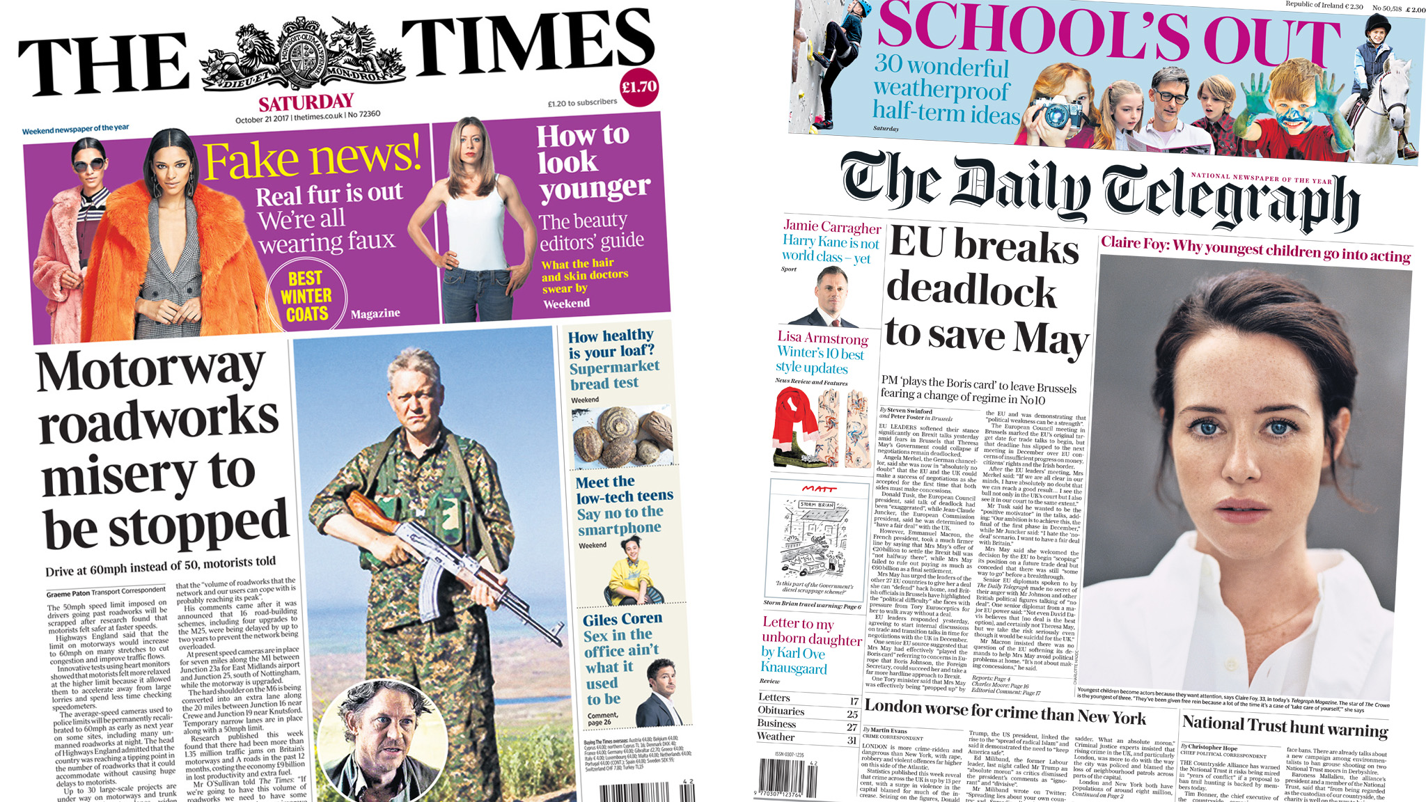 The Papers: Road 'misery' to end and EU 'saves May'