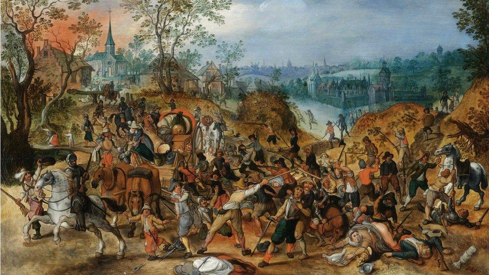 Una pintura que demuestra una emboscada a unos viajeros durante la Guerra de los 30 Años