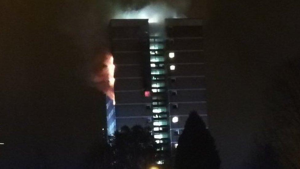 Fire hits high-rise flats in Dunmurry, near Belfast