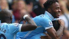 Raheem Sterling celebrates his goal for Man City