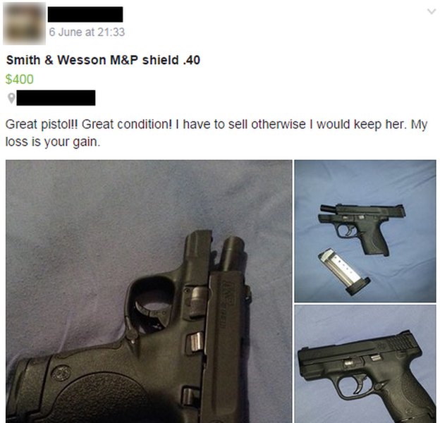 Pistol for sale on a Florida based gun trading Facebook page.