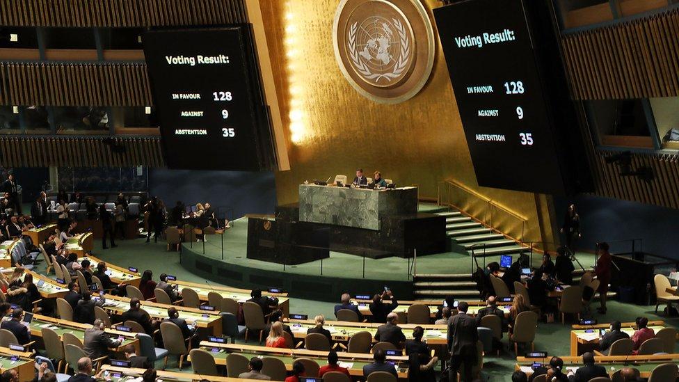 Resultado de la votación de la resolución de Naciones Unidas sobre la decisión de EE.UU. de trasladar su embajada en Israel a Jerusalén