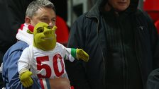 England fan with a Shrek toy at last night's match with Lithuania