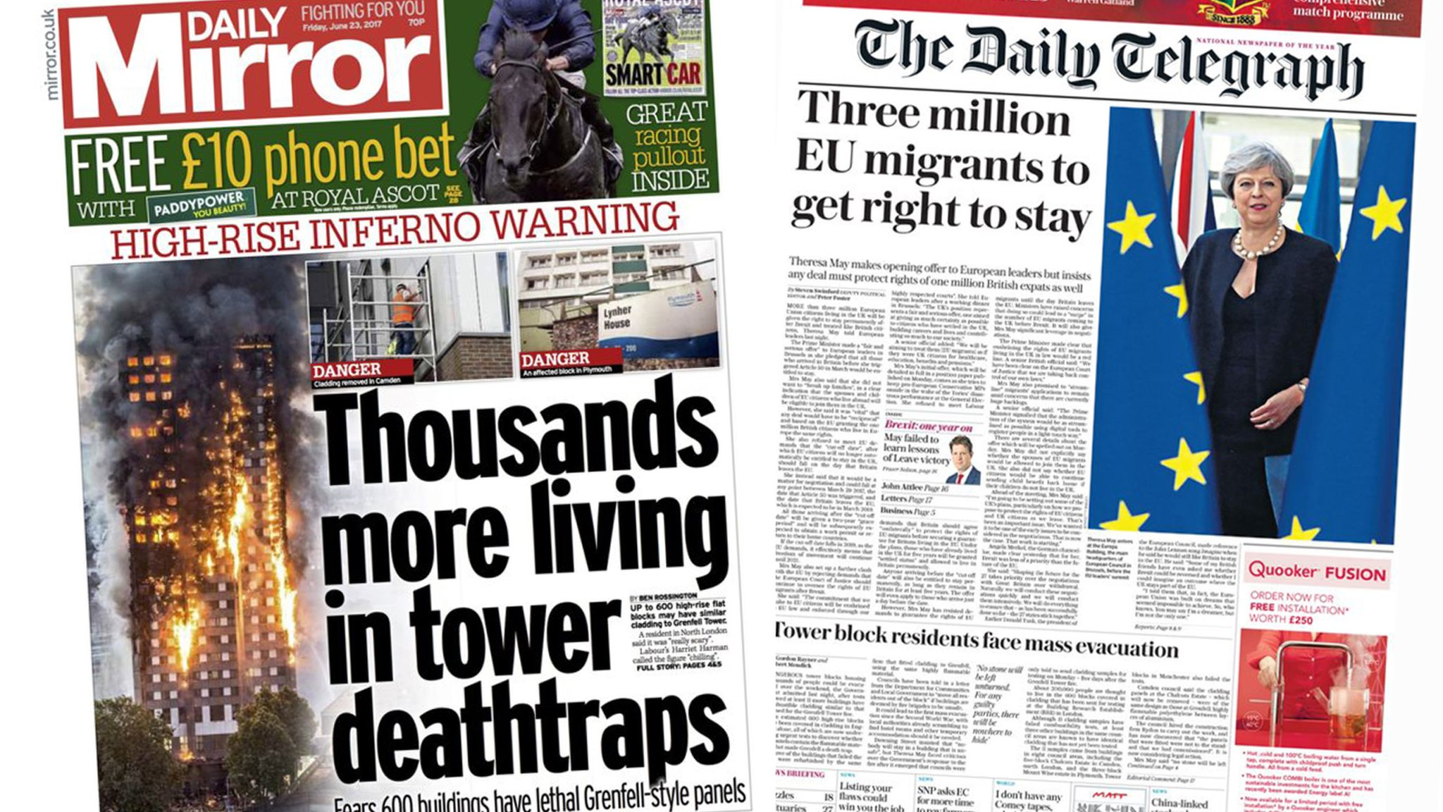 Newspaper headlines: Tower 'death traps' and EU migrant rights