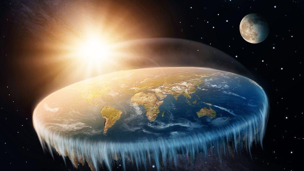 Ilustración de la Tierra plana.