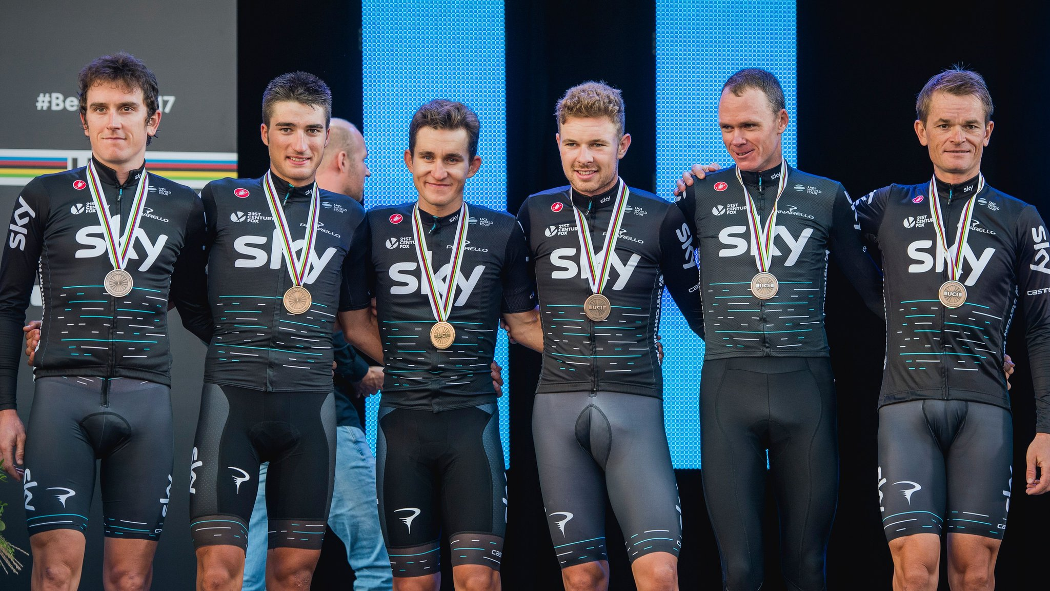 Road World Championships: Team Sky third in team time trial