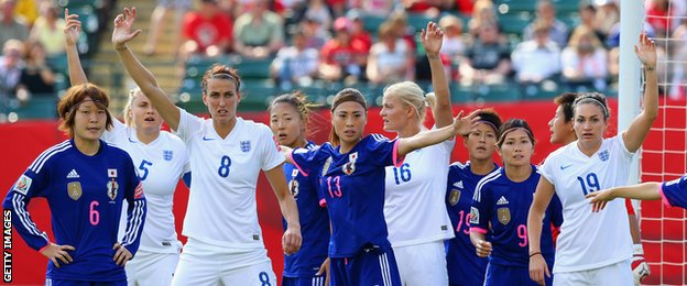 England and Japan players wait for a corner kick