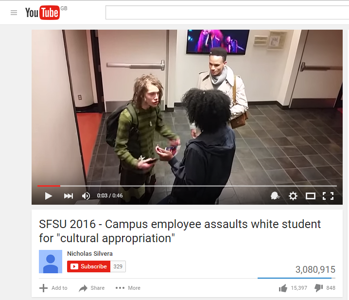 A still from a viral video of the confrontation between a white man and a black woman. Despite the title of the film, the university involved says the woman was not a campus employee.