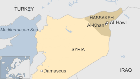 map of Syria showing Hassakeh in north east