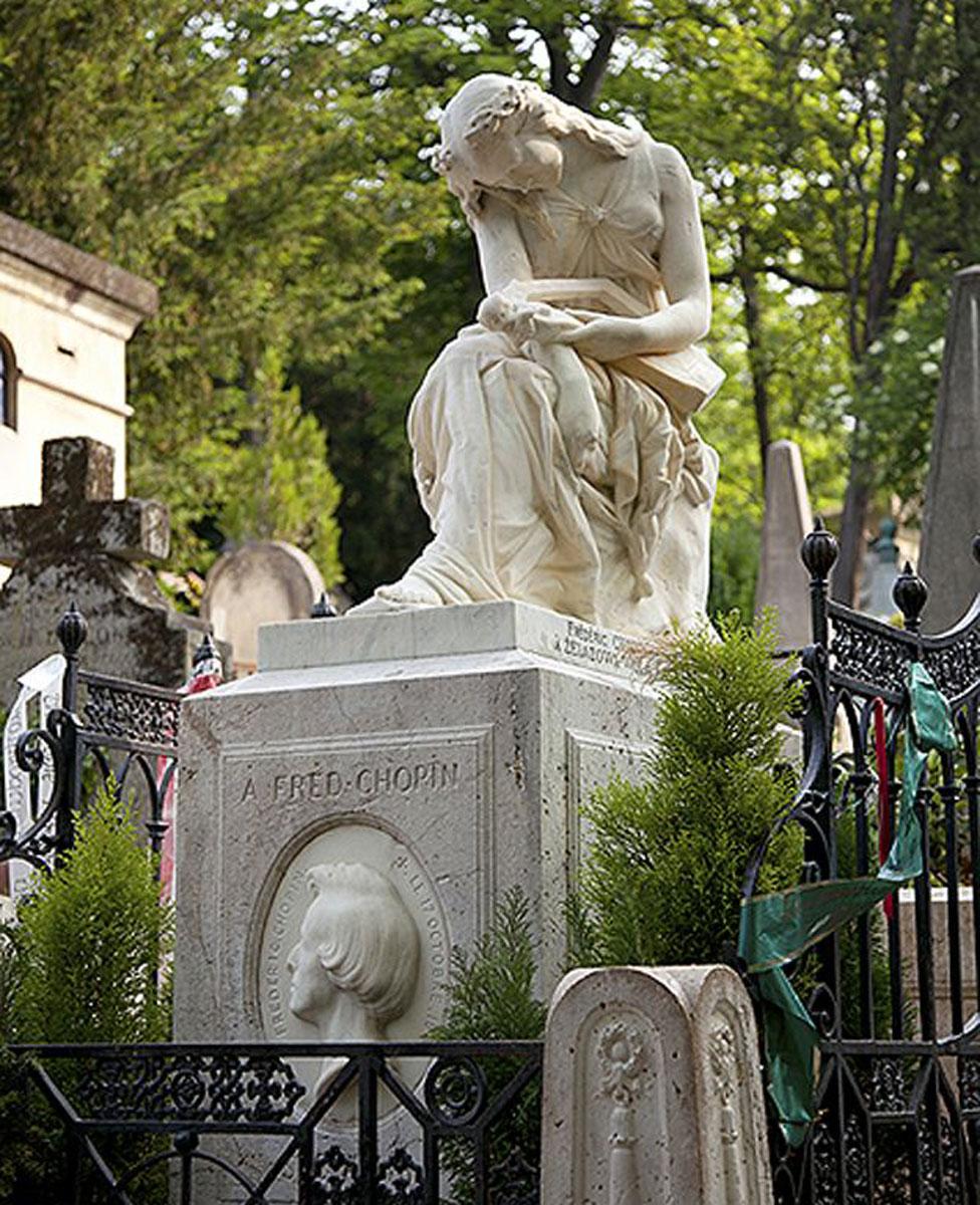 Tumba de Frederic Chopin en el cementerio parisino de Père Lachaise