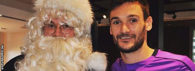 Hugo Lloris and Father Christmas
