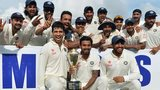 India celebrate their series victory in Colombo