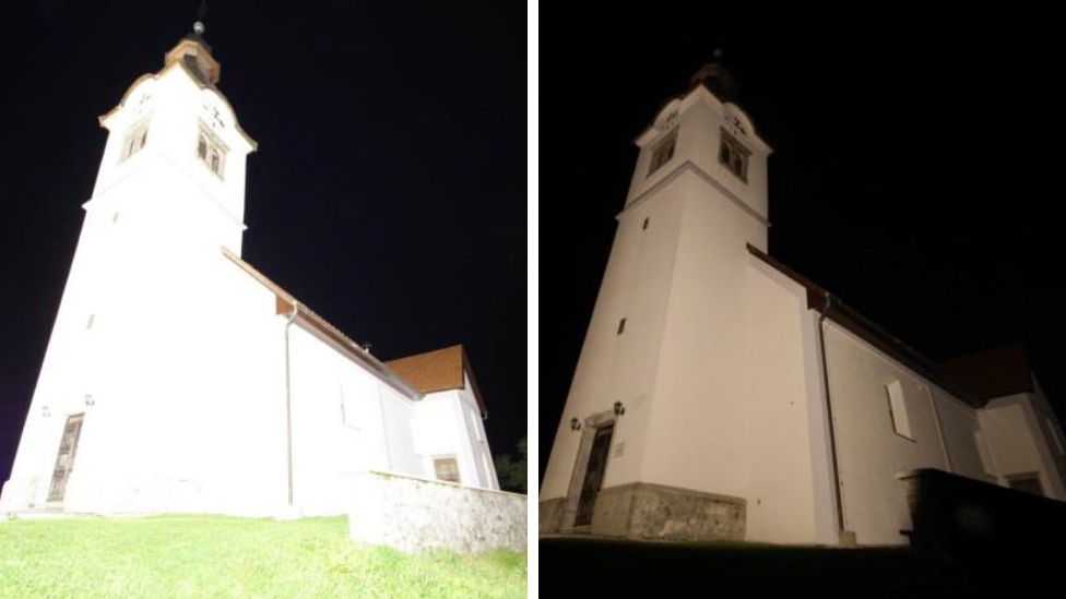 Church in Slovenia that was re-lit as part of a dark sky initiative
