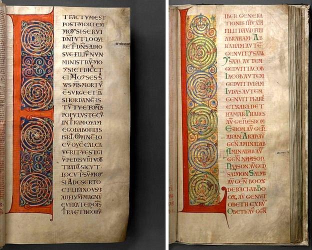 En ocasiones, las mayúsculas -como la E y la L aquí- ocupan toda la página. Decoradas con espirales causan un efecto visual atractivo al contrastarse con el texto vertical de la derecha.