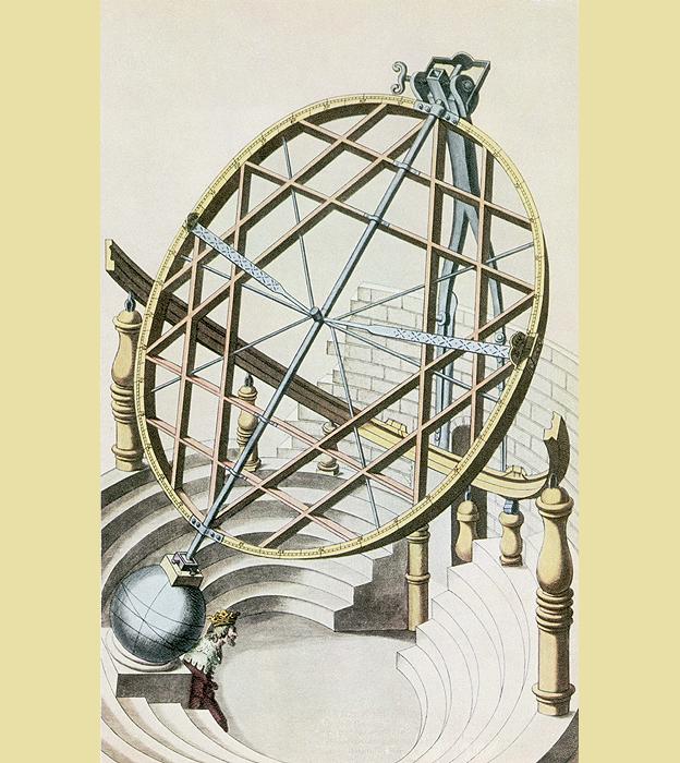 Las esferas armilares fueron inventadas por Eratóstenes circa 255 a. C. y muestran el movimiento de las estrellas alrededor de la Tierra o el Sol.