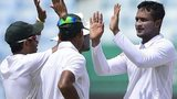 Bangladesh players celebrate a South Africa wicket