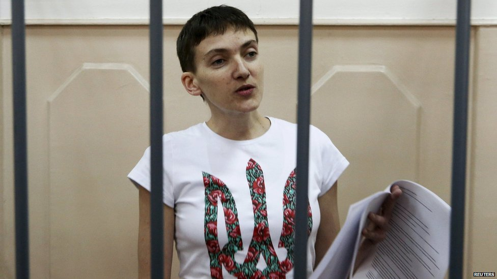 Ukrainian pilot Nadia Savchenko appears in Russian court, accused of involvement in the killing of two Russian journalists in eastern Ukraine.