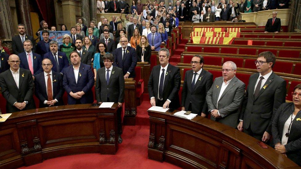 برلمان كتالونيا بعد التصويت على الانفصال