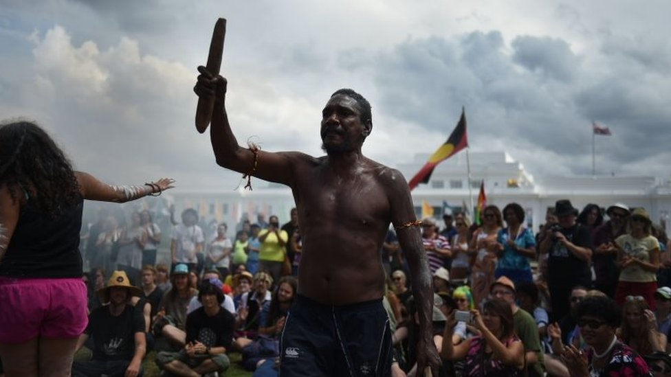 Indigenous Australians protest against Australia Day outside Old Parliament House in Canberra in 2016