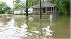Flooded road in Louisiana
