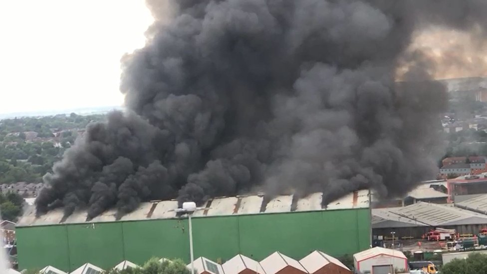 Huge fire at Salford recycling plant