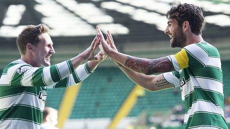 Celtic's Kris Commons and Charlie Mulgrew celebrate