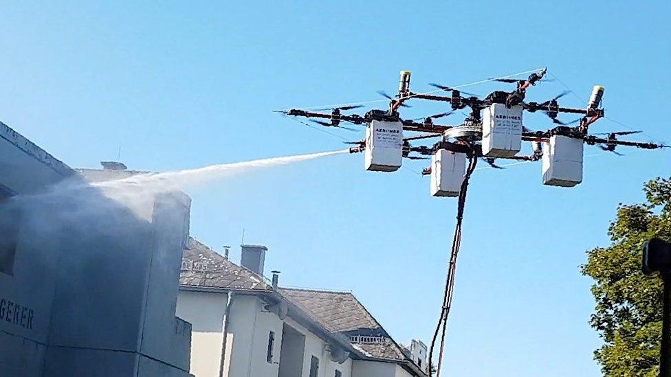 Window washing drone takes flight
