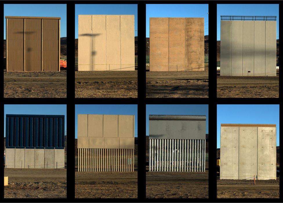 Montaje con los ocho prototipos de muros construidos en la frontera entre México y Estados Unidos.