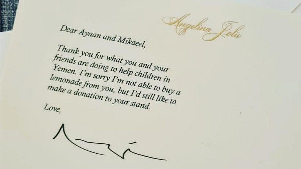 Note from Angelina Jolie