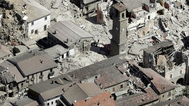 Quake-hit Italy from air