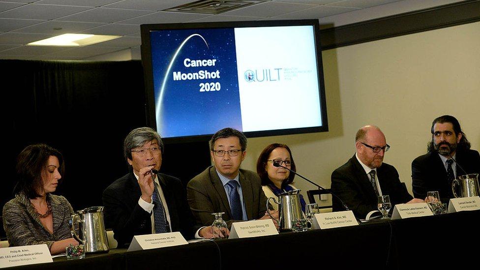 Patrick Soon-Shiong durante la presentación de su iniciativa Cancer Moonshot 2020.