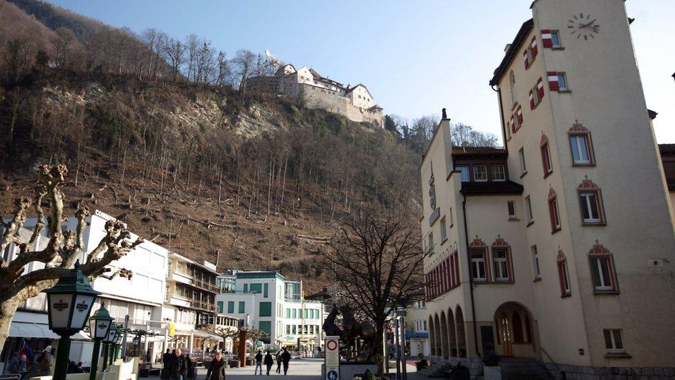 View of Vaduz with Liechtenstein Castle in the background