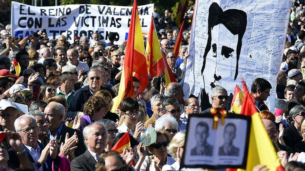 Una protesta por la muerte de Miguel Ángel Blanco