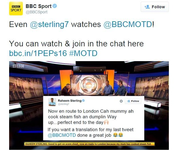 BBC Sport tweet about Raheem Sterling