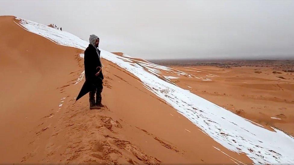 رجل جزائري يقف فوق منحدر تغطيه الثلوج في عين الصفراء بالجزائر. وهذه المرة الثانية في غضون ثلاثة سنوات التي تسقط فيها الثلوج في الصحراء الجزائرية.
