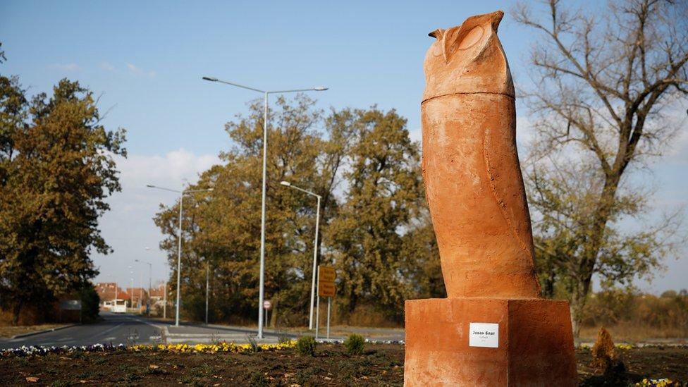 'Phallic' owl statue mocked in Serbian town of Kikinda