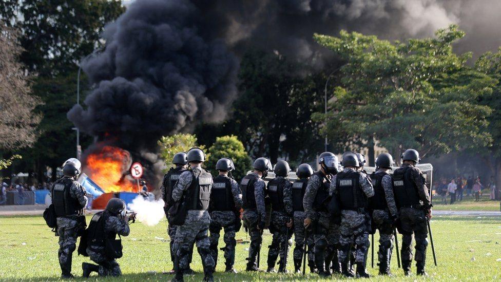 درگیری پلیس برزیل با معترضان در پایتخت