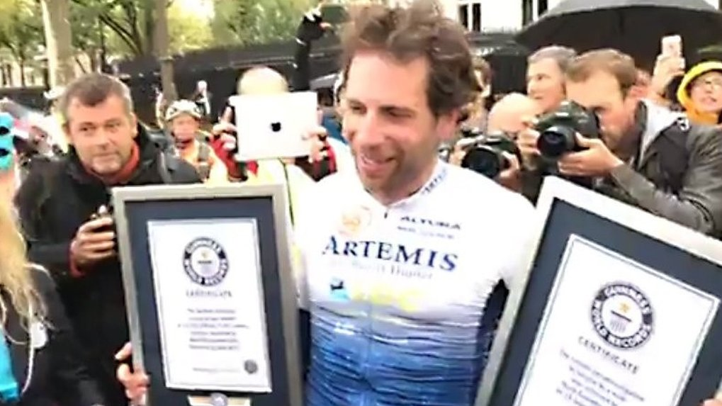 Cyclist Mark Beaumont breaks around the world record