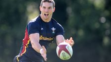 George North in training with Wales