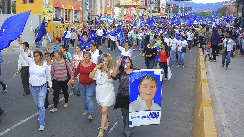 Marcha a favor de Juan Orlando Hernández