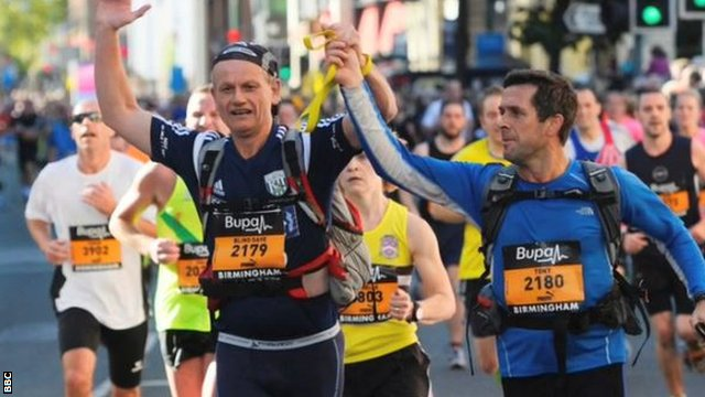 'Blind Dave' celebrates running a marathon