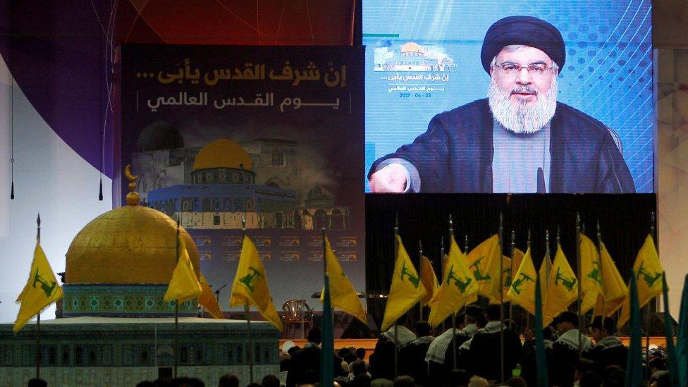 Hezbollah leader Hassan Nasrallah addresses supporters in Beirut, Lebanon June 23, 2017