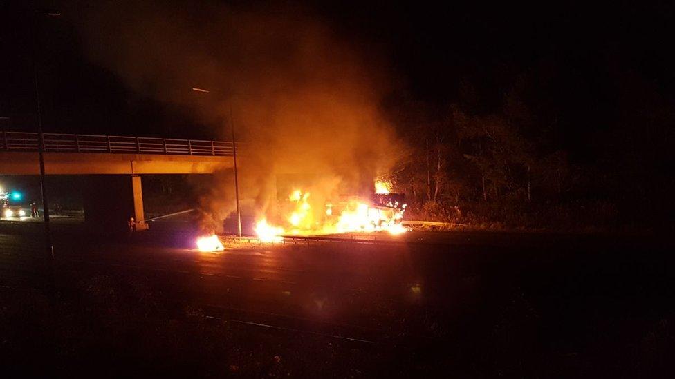 M62 crane fire: Tyres explode in Rochdale motorway blaze