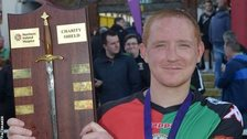 Stephen McAlorum with the Charity Shield after Glentoran's win over Crusaders