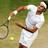 Roger Federer serving at Wimbledon