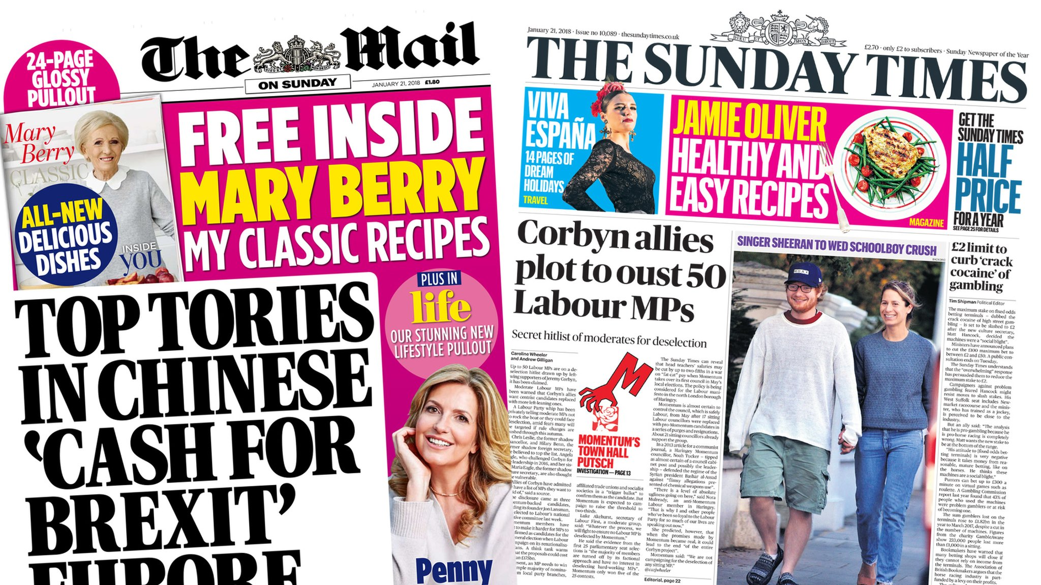 Newspaper headlines: 'Cash for Brexit' sting and Labour hit lit