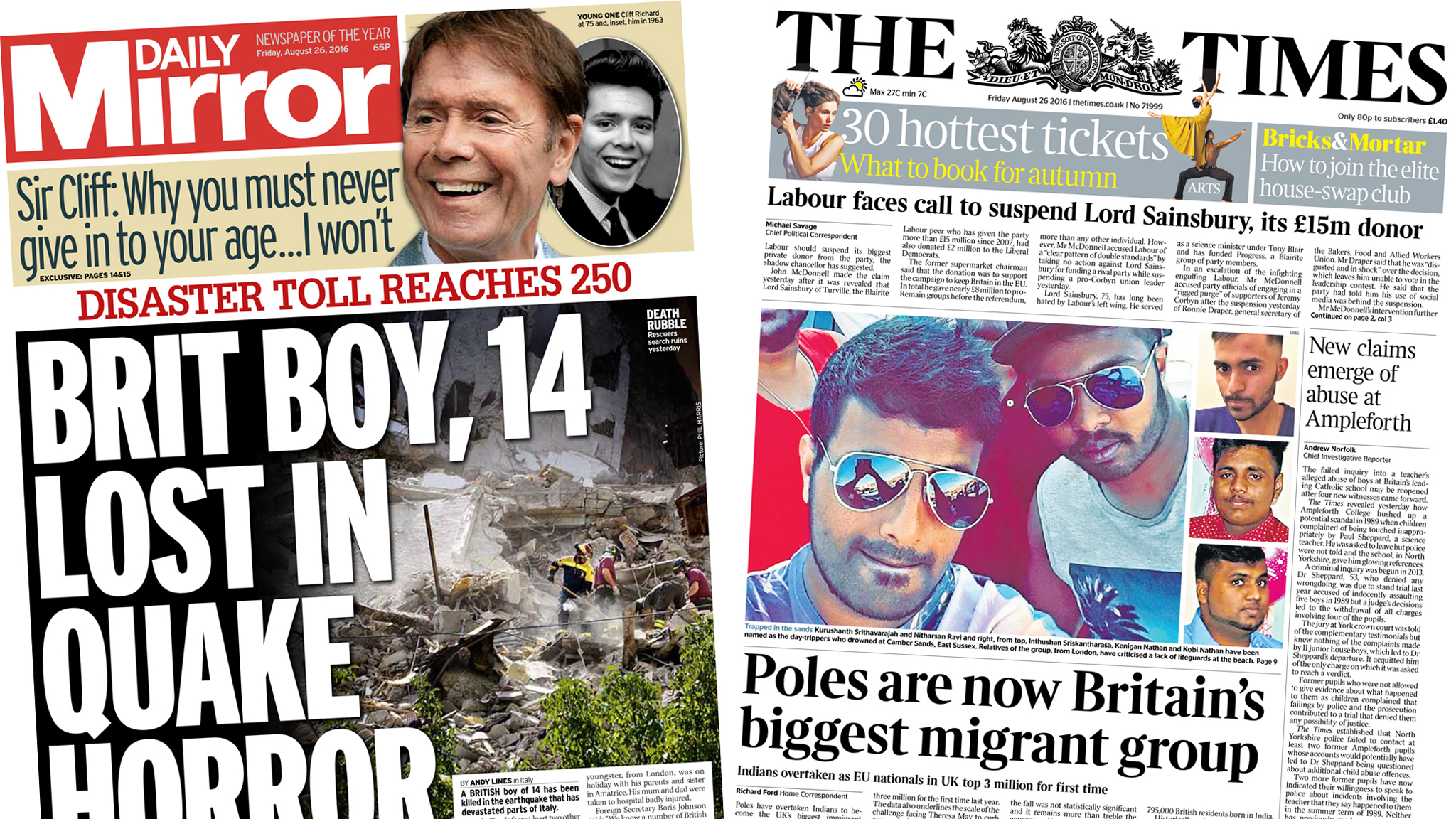 Newspaper headlines: British earthquake death, and drowned swimmers